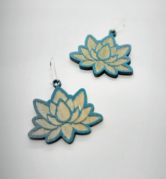 Teal Lotus Earrings from cut Plywood with Silver ear wires