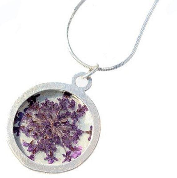 purple queen anns lace/silver pendant