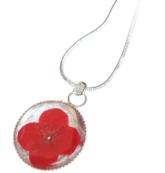 Red Verbena /sterling silver pendant