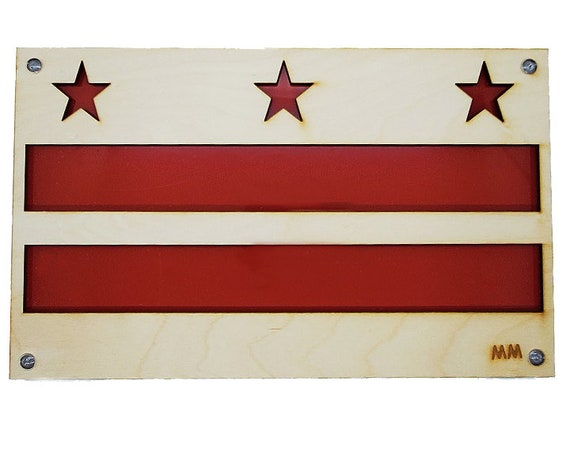 Washington DC Flag Plywood and Recycled Aluminum in Red