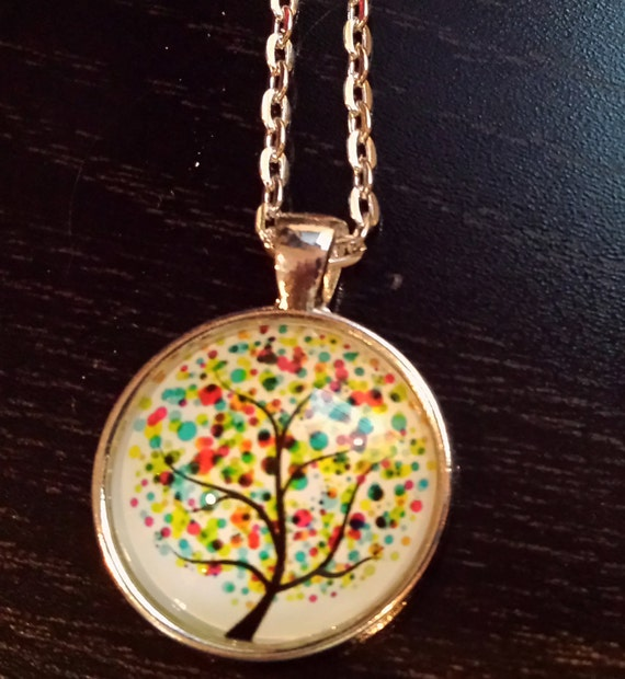 water color tree pendant