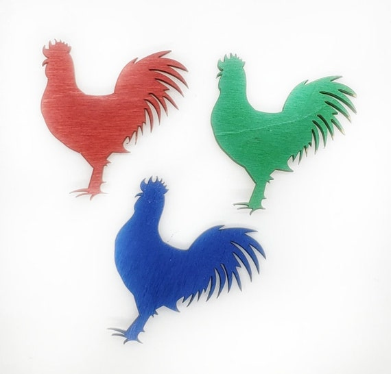 Wooden Rooster Magnets 3pcs - Fridge magnets - Wedding magnets - Save the date magnets- Custom