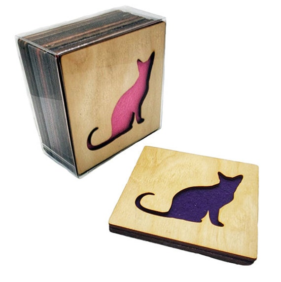 4 Rooster Coasters wooden laser cut natural eco-friendly Waterproof plywood birch and Felt