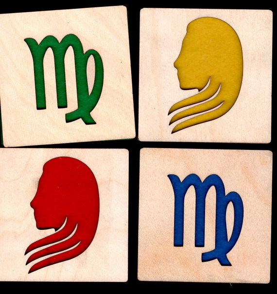 4 Virgo Zodiac Astrological Coasters wooden laser cut natural eco-friendly Waterproof plywood birch and Felt