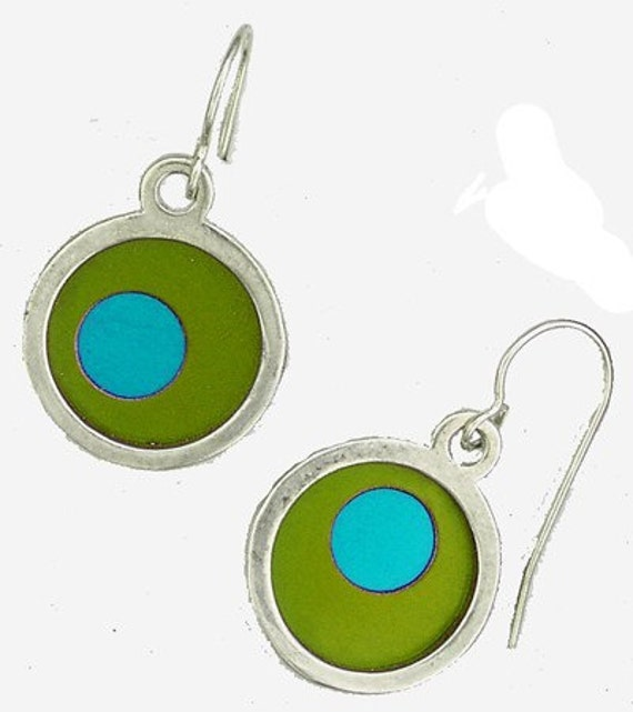 Small Two Tone lime/aqua Earrings