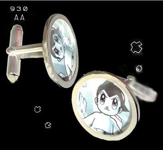 ASTRO BOY vintage button/pin cuff links of sterling silver