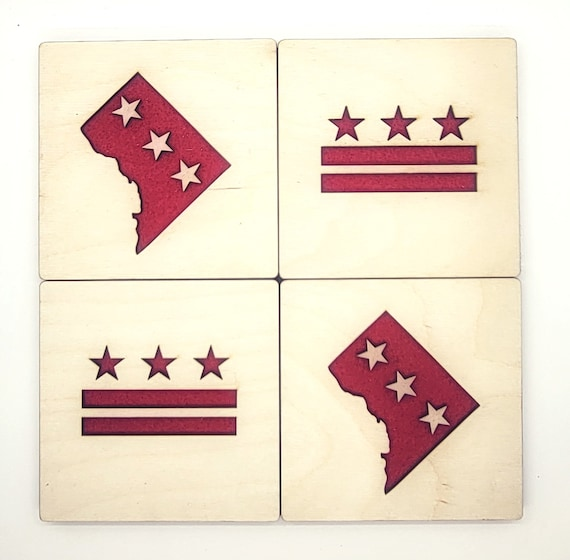 Set of Set of 4 = 2 DC FLAG and 2 DISTRICT Coasters laser cut wood natural eco-friendly Waterproof plywood birch and Felt