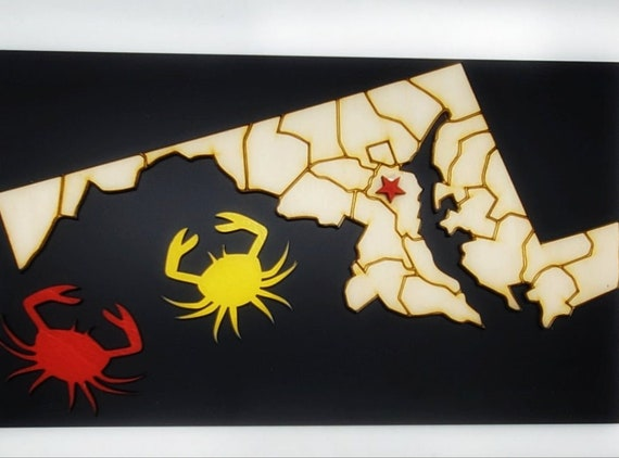 Crab/Maryland Map of Plywood and Recycled Aluminum