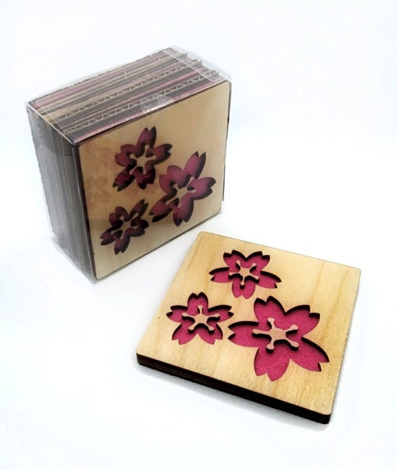 4 Cherry Blossom Pink Coasters wooden laser cut natural eco-friendly Waterproof plywood birch and Felt