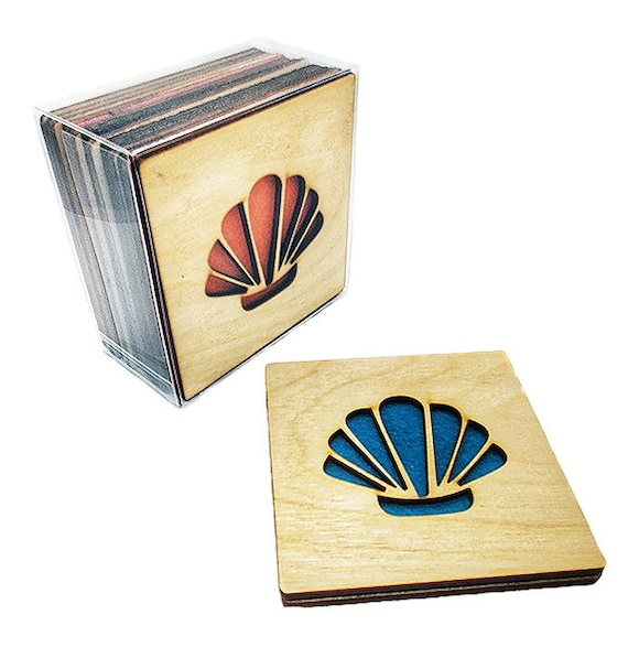 4 Sea shell Coasters wooden laser cut natural eco-friendly Waterproof plywood birch and Felt