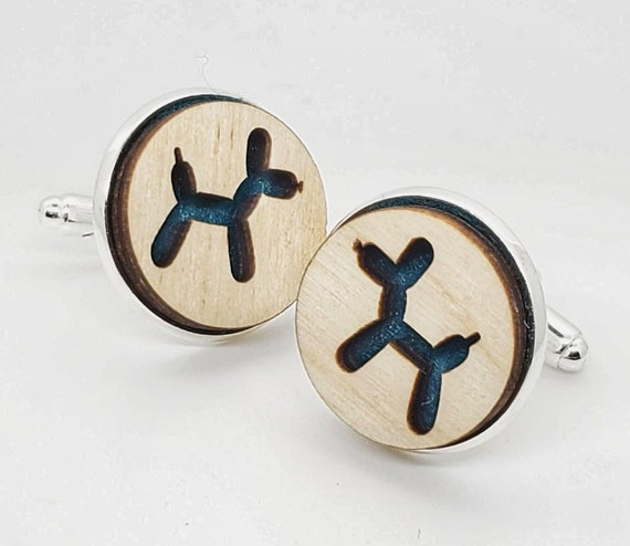 Balloon Dog cuff links of stainless Steel, Plywood and Felt for Father's Day Gift, 5th anniversary gift, Groomsmen gift, Wedding cuff links