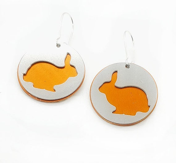 Reversible Bunny Rabbit Earrings with Anodized Aluminum and Plywood