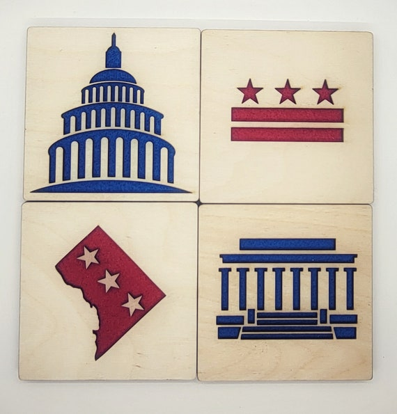 Set of 4= 1 DC flag, 1 DISTRICT, 1 Capitol and 1 Lincoln memorial Coasters of laser cut Waterproof birch plywood, cork and feltirch and Felt