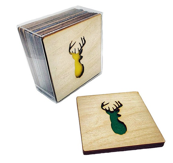 4 Buck Deer Coasters wooden laser cut natural eco-friendly Waterproof plywood birch and Felt