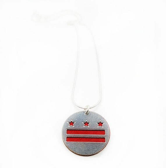 DC FLAG pendant of stainless steel and recycled aluminum