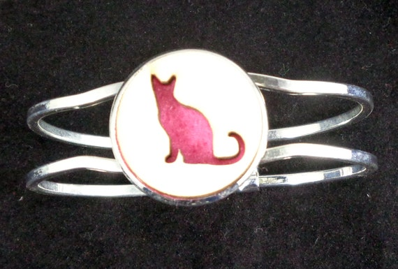 Kitty Cat Cuff Bracelet from cut Plywood and Felt set into Hinged Stainless Steel setting