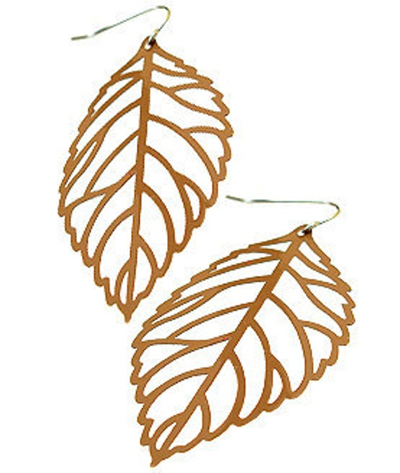 Enameled Filigree Leaf Earrings in Brown