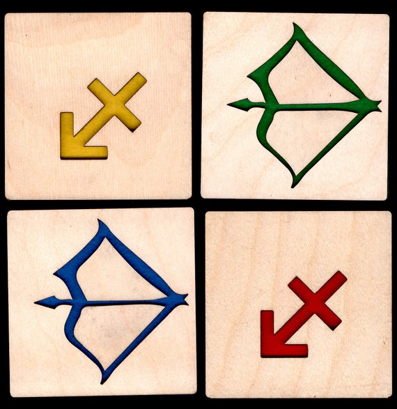 4 Sagittarius Zodiac Astrological Coasters wooden laser cut natural eco-friendly Waterproof plywood birch and Felt