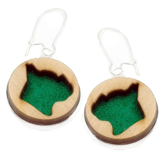 Frenchie Bull Dog Earrings from cut Plywood and Felt set in Stainless Steel and hung from silver