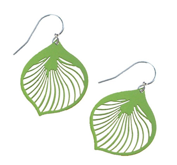 Enameled Ginkgo Leaf Earrings in Green Apple