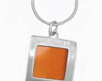 small square recycled aluminum\/silver pendant in orange