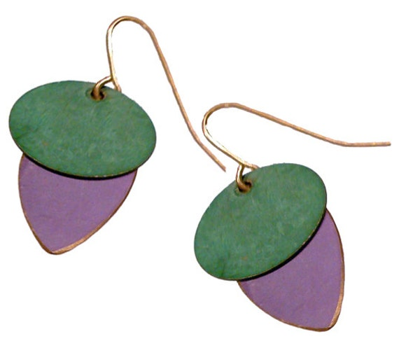 Brass Patina Earrings in Mustard and Purple
