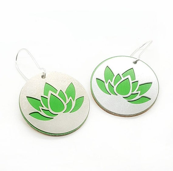 Reversible Lotus Earrings with Anodized Aluminum and Plywood