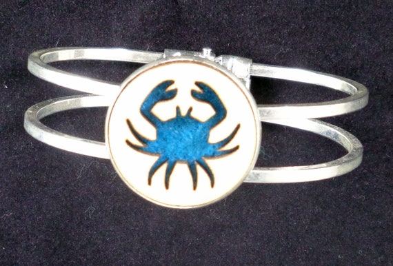 Crab Cuff Bracelet from cut Plywood and Felt set into Hinged Stainless Steel setting