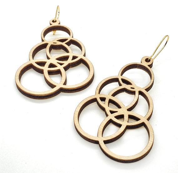 Wood Filigree Modern Circles Earrings