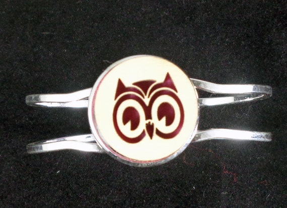 Owl Cuff Bracelet from cut Plywood and Felt set into Hinged Stainless Steel setting