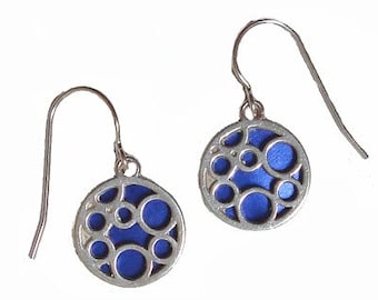 small blue round bubble earrings