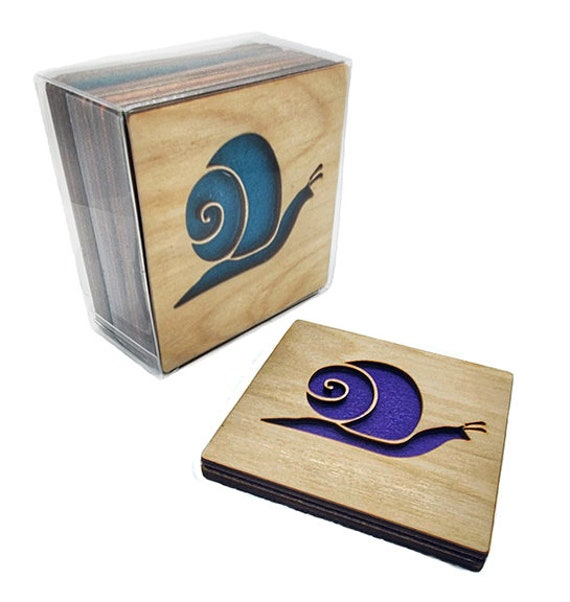 4 tiny Leaf Coasters wooden laser cut natural eco-friendly Waterproof plywood birch and Felt
