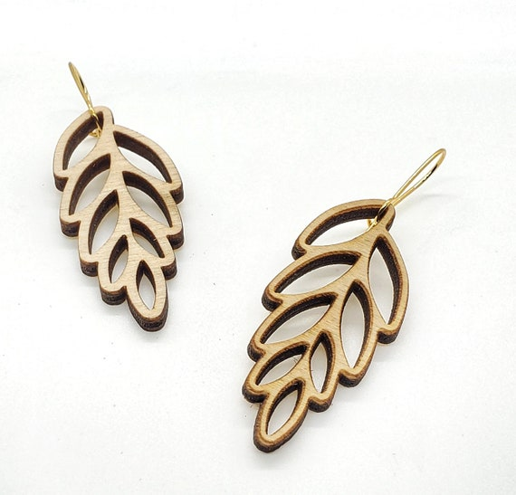 Wood Filigree Leaf Earrings