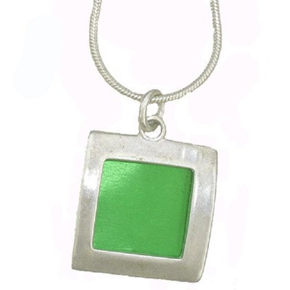 small square recycled aluminum/silver pendant in green