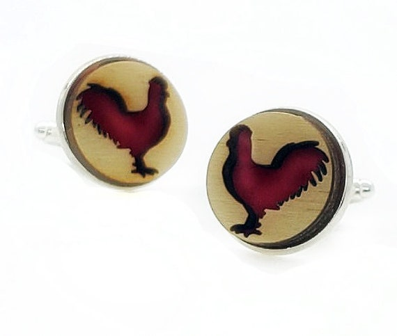 Rooster cuff links of stainless Steel, Plywood and Felt for Father's Day Gift, 5th anniversary gift, Groomsmen gift, Wedding cuff links