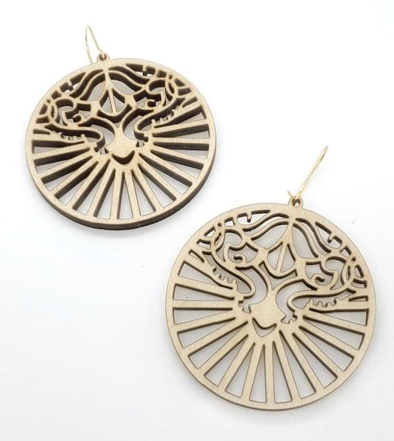 Wood Filigree Modern Deco/round Earrings