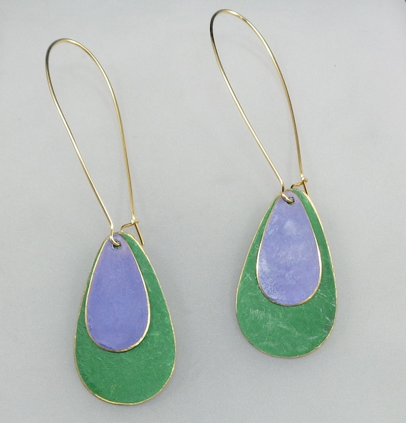 Brass Patina Teardrop Earrings in Green and Purple