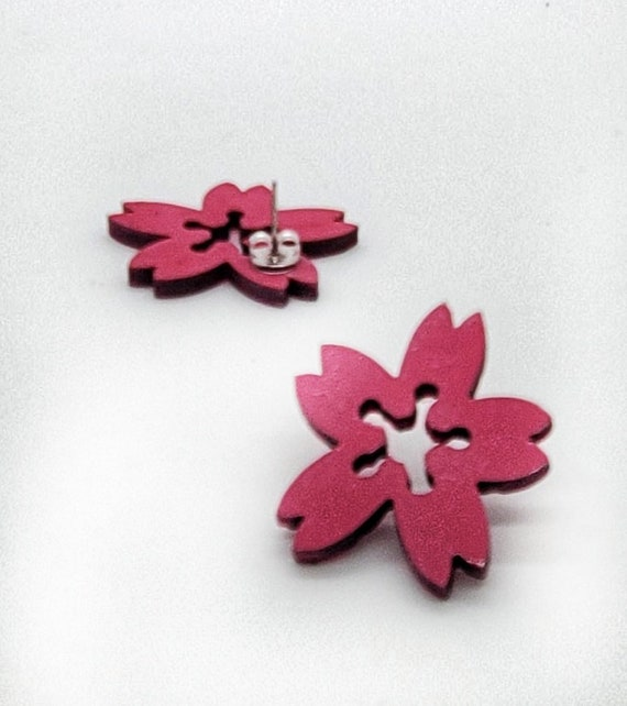 DC Cherry Blossom large Post Earrings from cut Plywood with Silver Post And Earring Backs