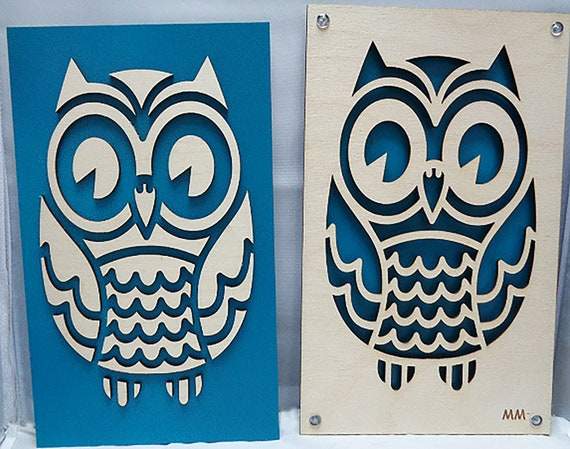 Owl set from Plywood and Recycled Aluminum in Teal