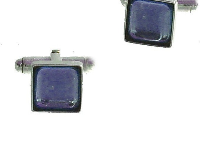 Square Glass and sterling silver cufflinks in smokey blue