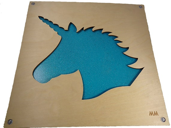 Glittery Teal Unicorn Plywood and Recycled Aluminum