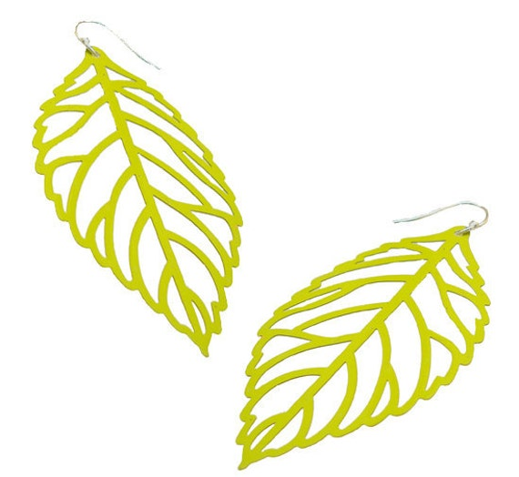 Enameled Filigree Leaf Earrings in Lime Green