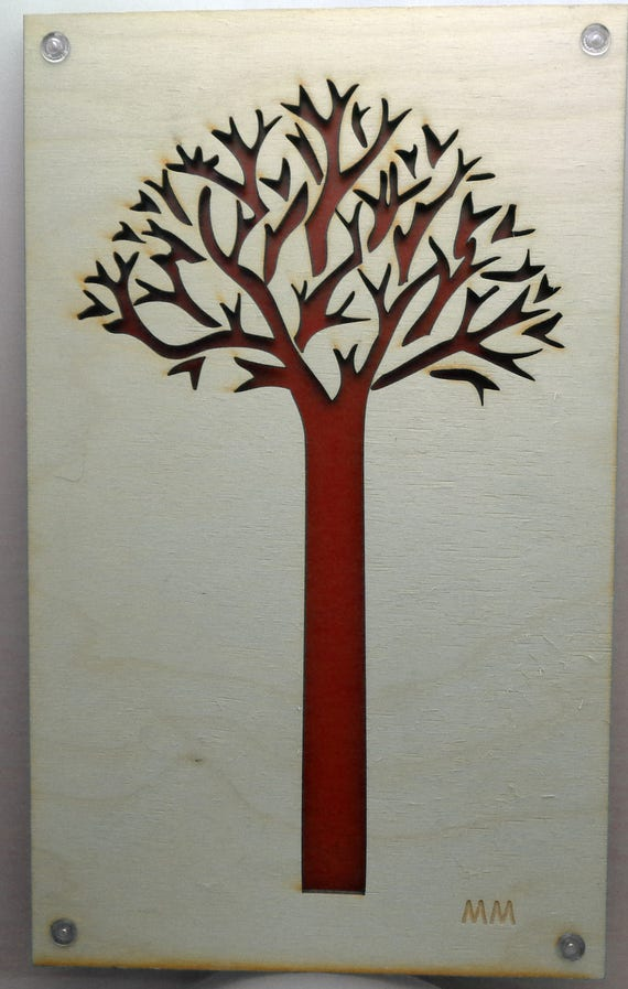Tree of Life from Plywood and Recycled Aluminum in Red