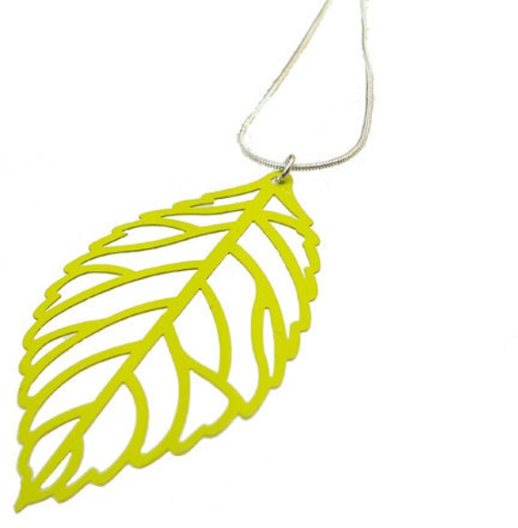 Enameled Filigree Leaf Pendant in Lime Green