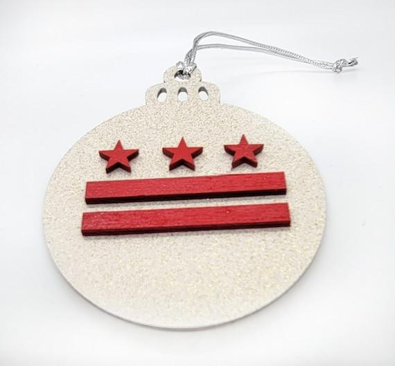 DC Flag Holiday Xmas tree wooden Ornaments