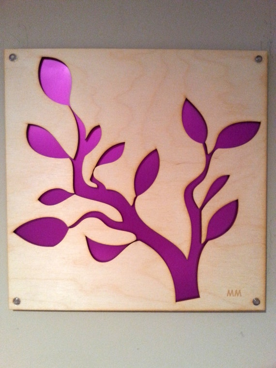 Plywood Tree Branch and Recycled Aluminum in Fuchsia