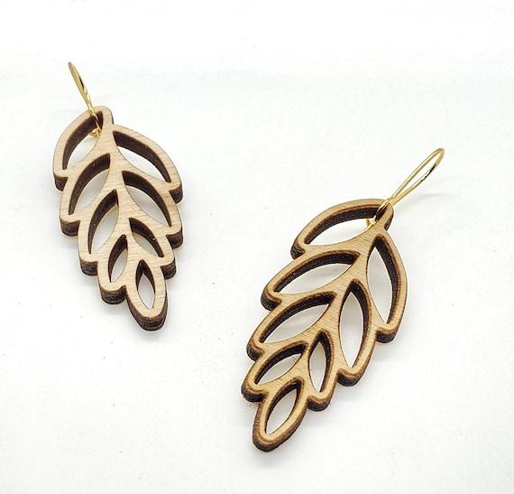 Wood Filigree Leaf Earrings