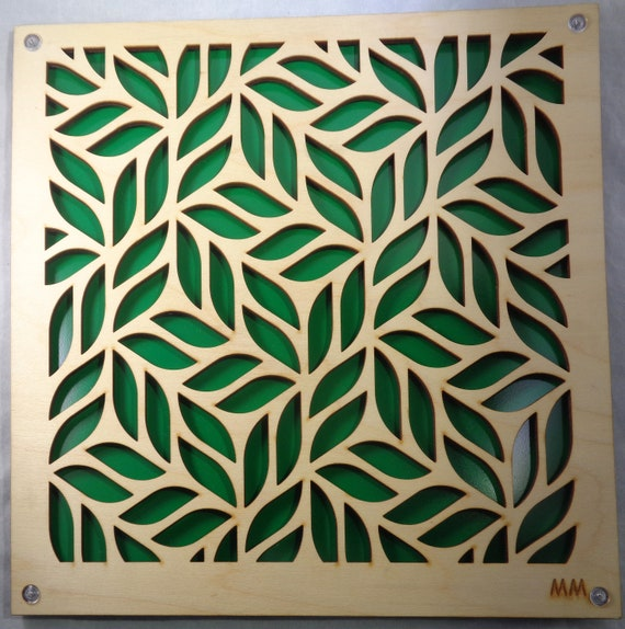 Plywood Tiny Leaves and Recycled Aluminum wall art