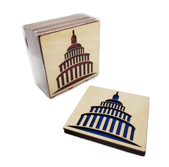 4 DC Capitol Coasters laser cut natural eco-friendly Waterproof plywood birch and Felt