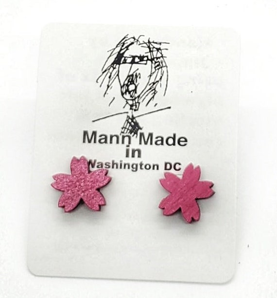DC Cherry Blossom Post Earrings from cut Plywood with Silver Post And Earring Back